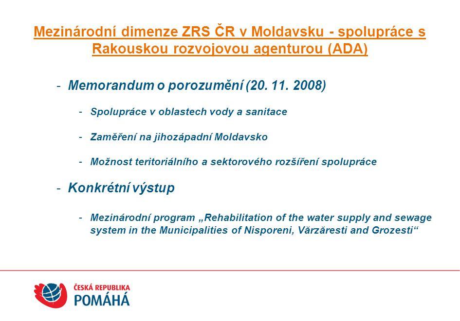 Mezinárodní dimenze ZRS ČR v Moldavsku - spolupráce s Rakouskou rozvojovou agenturou (ADA)