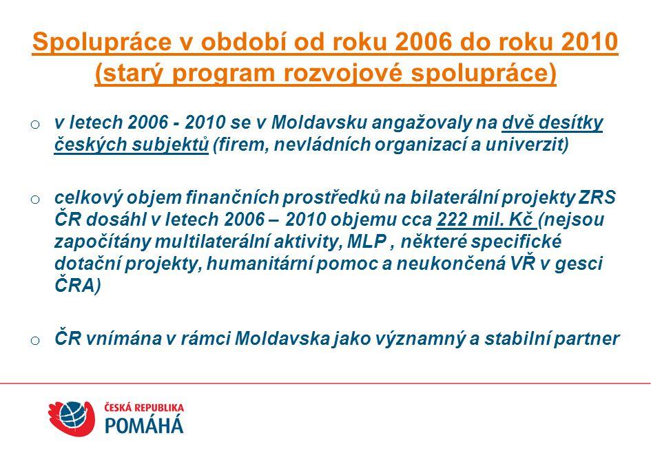 Spolupráce v období od roku 2006 do roku 2010 (starý program rozvojové spolupráce)
