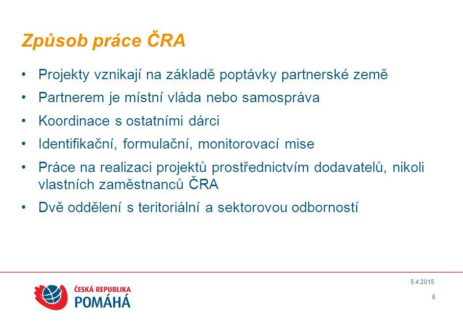 Způsob práce ČRA Projekty vznikají na základě poptávky partnerské země
