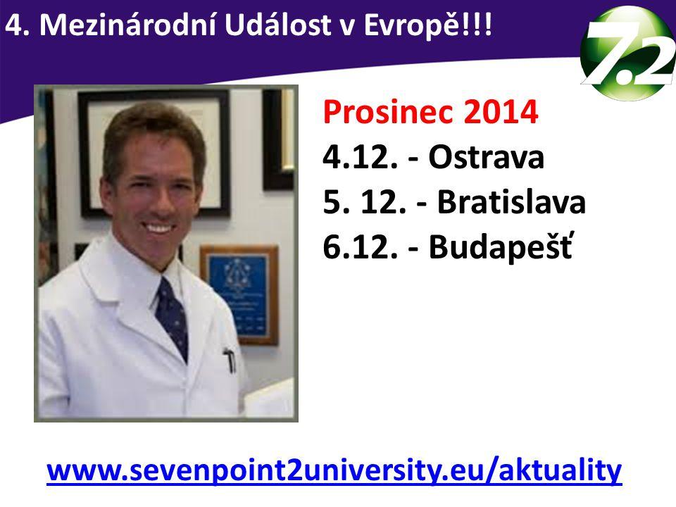 Prosinec 2014 4.12. - Ostrava 5. 12. - Bratislava 6.12. - Budapešť