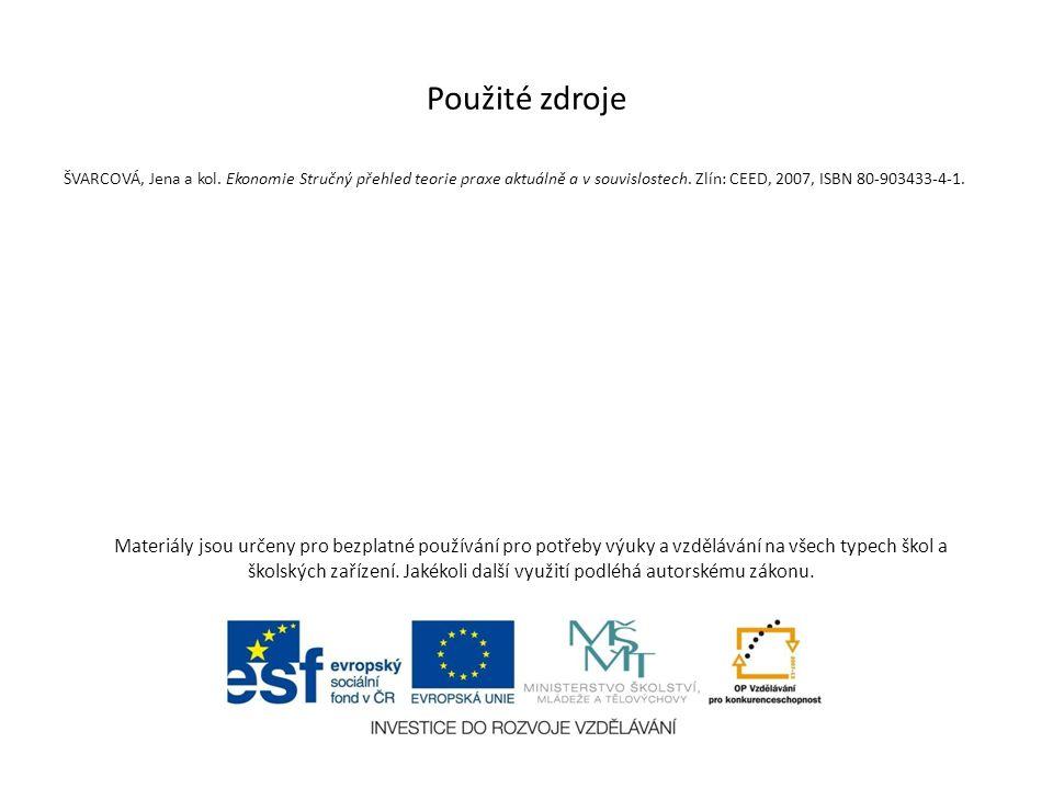 Použité zdroje ŠVARCOVÁ, Jena a kol. Ekonomie Stručný přehled teorie praxe aktuálně a v souvislostech. Zlín: CEED, 2007, ISBN 80-903433-4-1.