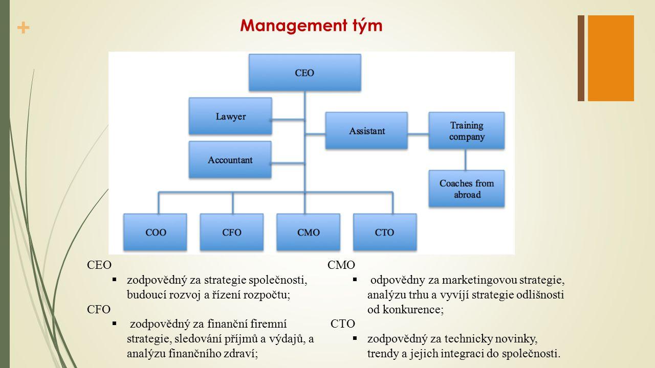 Management tým CEO. CMO. zodpovědný za strategie společnosti, budoucí rozvoj a řízení rozpočtu;