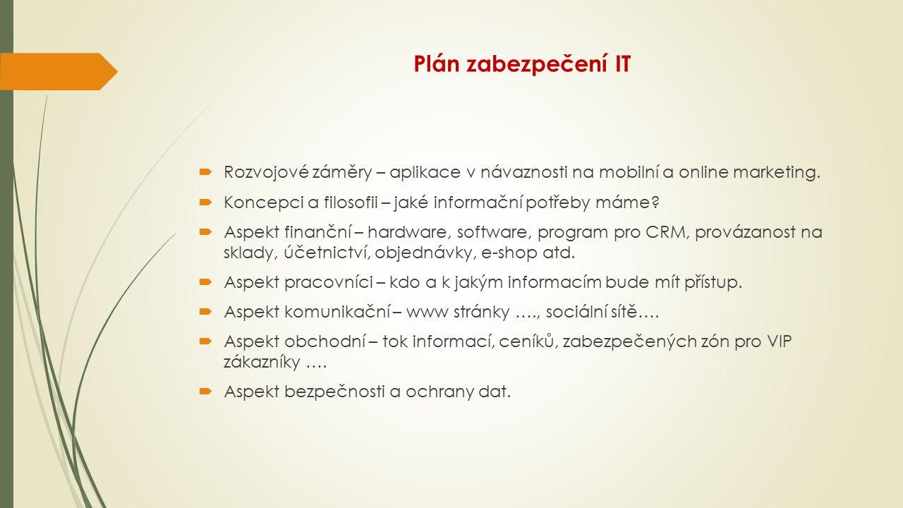 Plán zabezpečení IT Rozvojové záměry – aplikace v návaznosti na mobilní a online marketing. Koncepci a filosofii – jaké informační potřeby máme