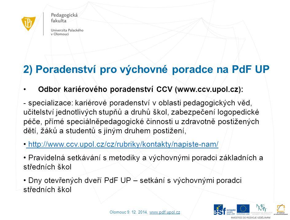 2) Poradenství pro výchovné poradce na PdF UP