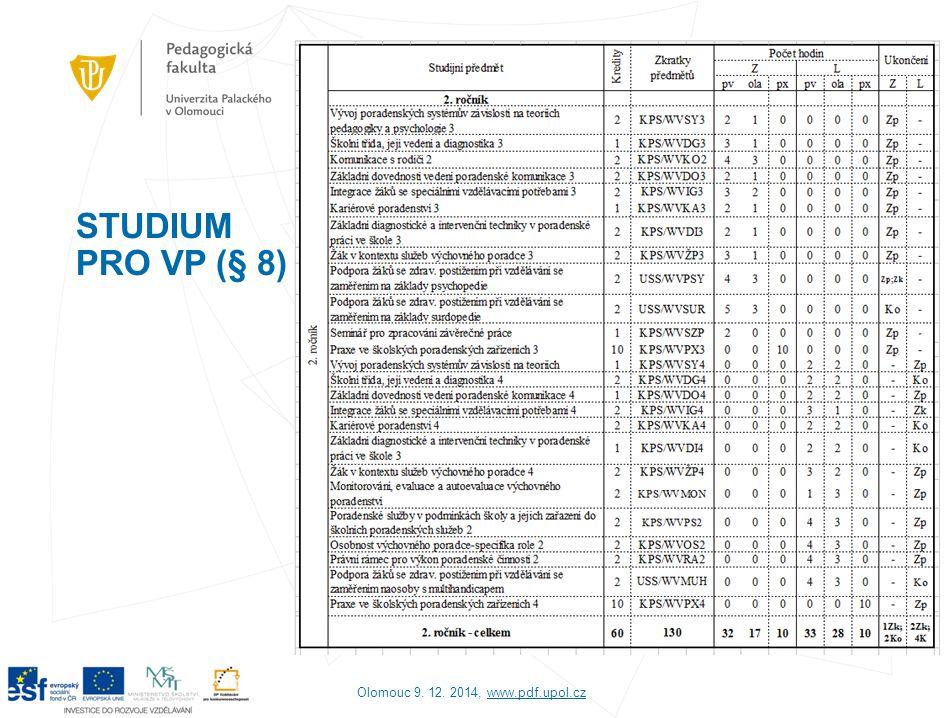 STUDIUM PRO VP (§ 8) Olomouc 9. 12. 2014, www.pdf.upol.cz
