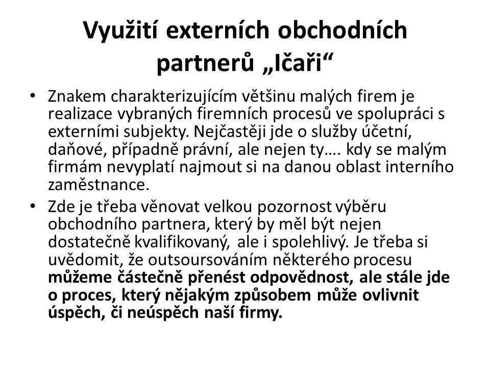 """Využití externích obchodních partnerů """"Ičaři"""