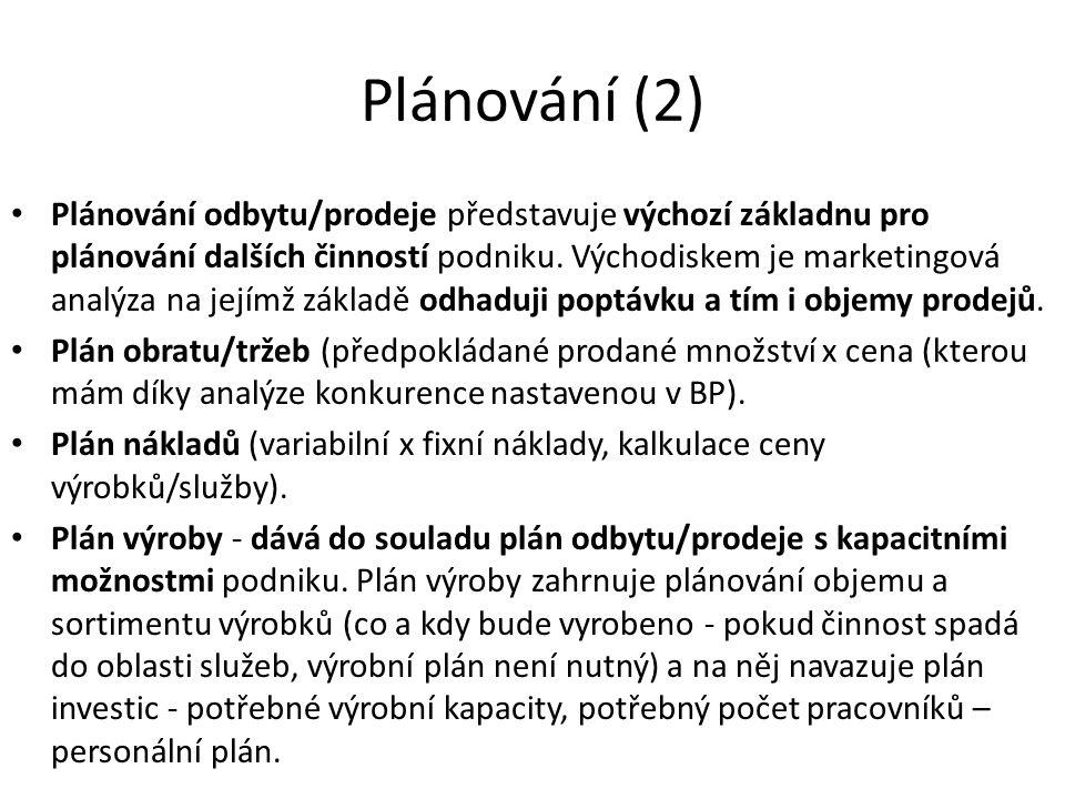 Plánování (2)