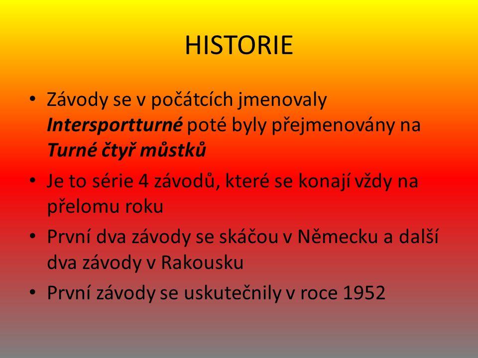 HISTORIE Závody se v počátcích jmenovaly Intersportturné poté byly přejmenovány na Turné čtyř můstků.