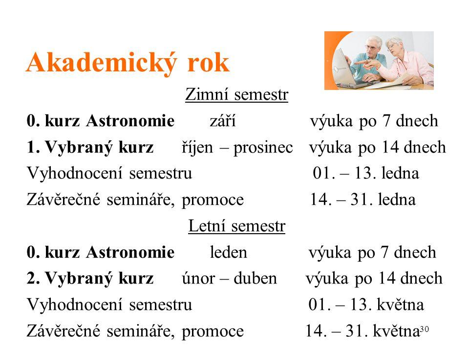 Akademický rok Zimní semestr 0. kurz Astronomie září výuka po 7 dnech