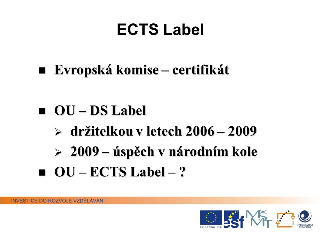 ECTS Label Evropská komise – certifikát OU – DS Label