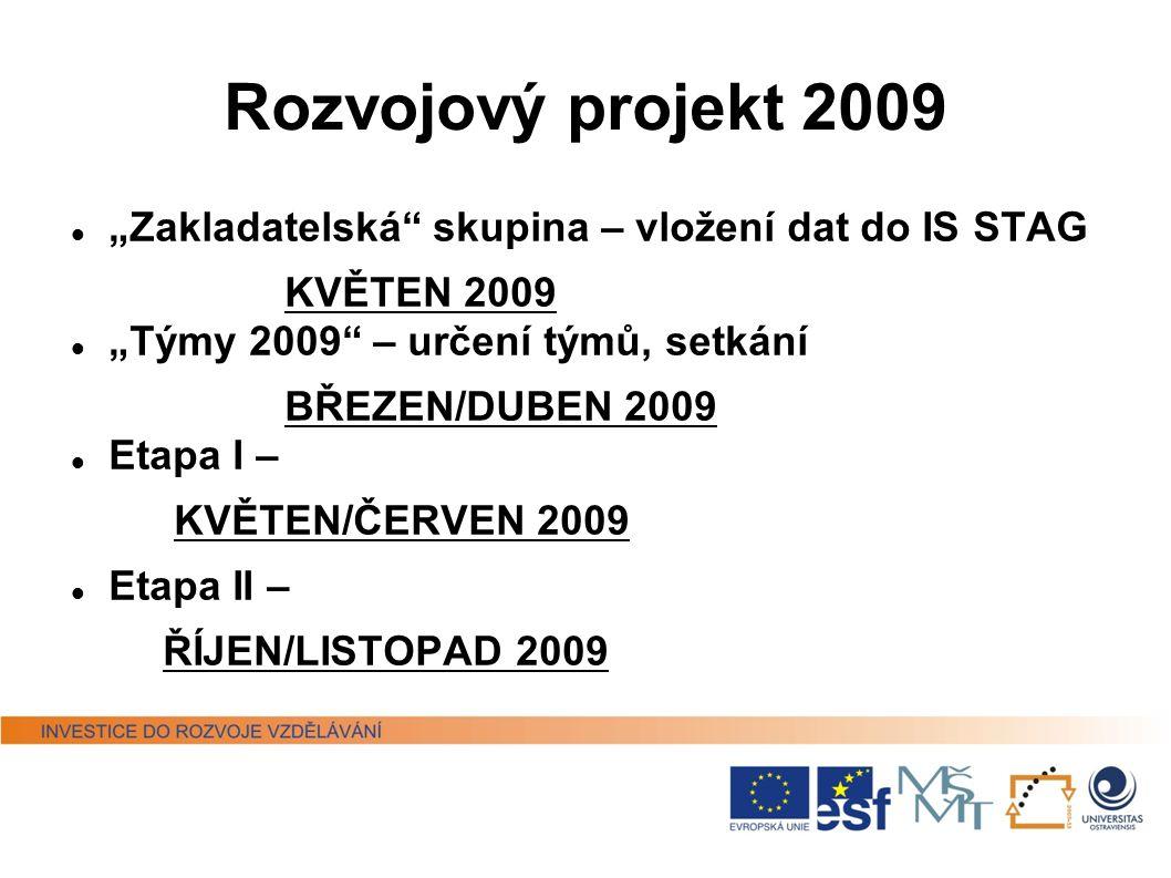 """Rozvojový projekt 2009 """"Zakladatelská skupina – vložení dat do IS STAG. KVĚTEN 2009. """"Týmy 2009 – určení týmů, setkání."""