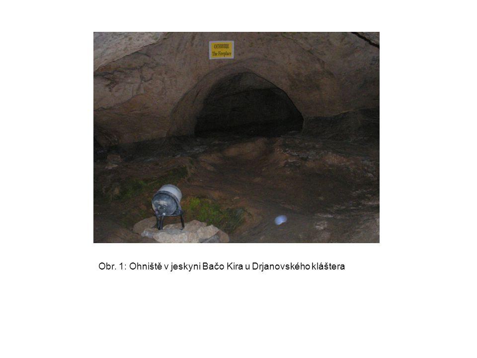Obr. 1: Ohniště v jeskyni Bačo Kira u Drjanovského kláštera