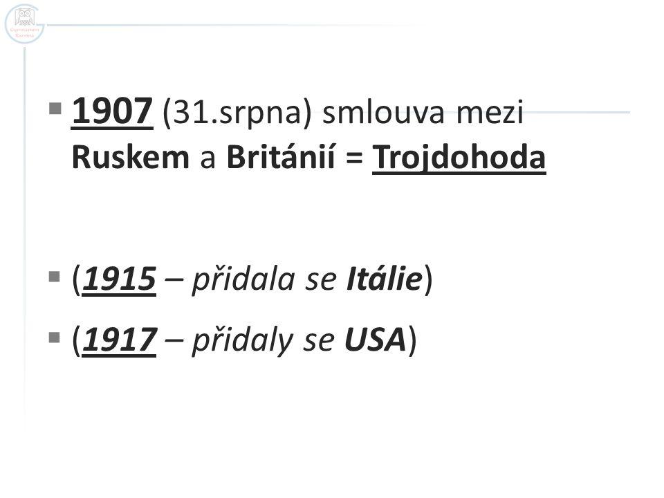 1907 (31.srpna) smlouva mezi Ruskem a Británií = Trojdohoda