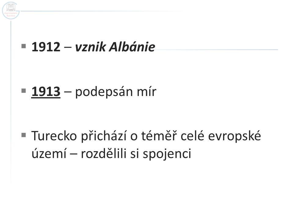 1912 – vznik Albánie 1913 – podepsán mír.