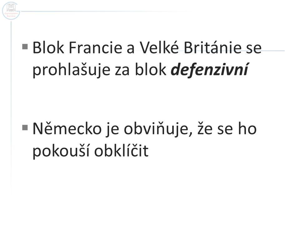 Blok Francie a Velké Británie se prohlašuje za blok defenzivní