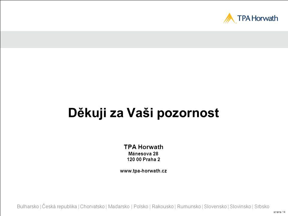 Děkuji za Vaši pozornost TPA Horwath Mánesova 28 120 00 Praha 2 www