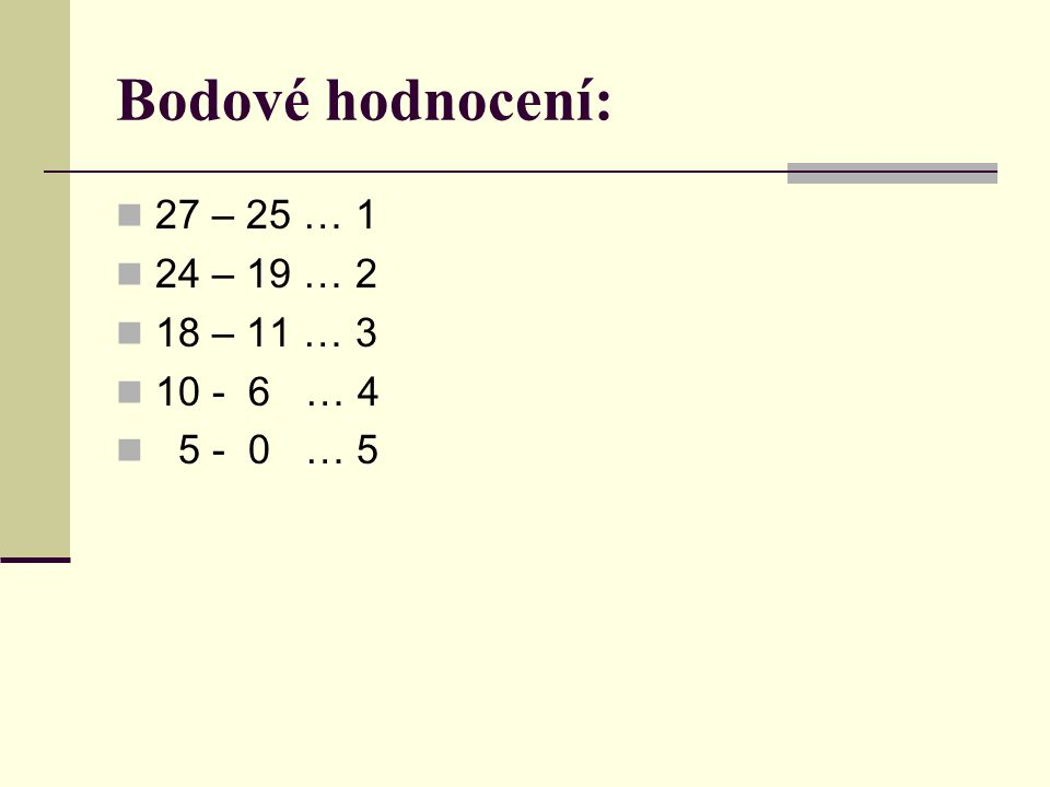 Bodové hodnocení: 27 – 25 … 1 24 – 19 … 2 18 – 11 … 3 10 - 6 … 4