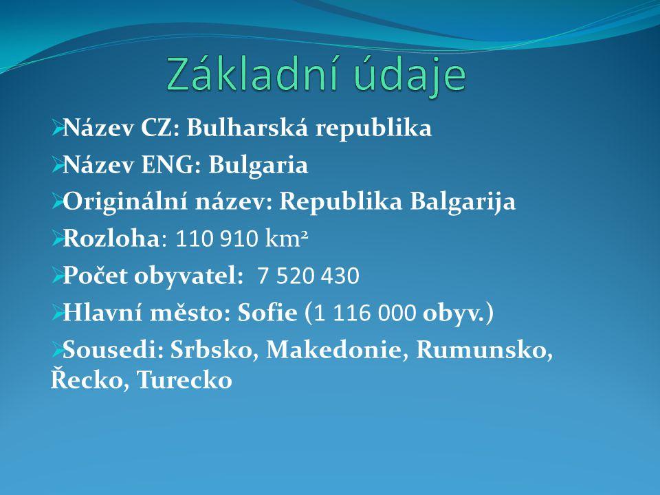 Základní údaje Název CZ: Bulharská republika Název ENG: Bulgaria
