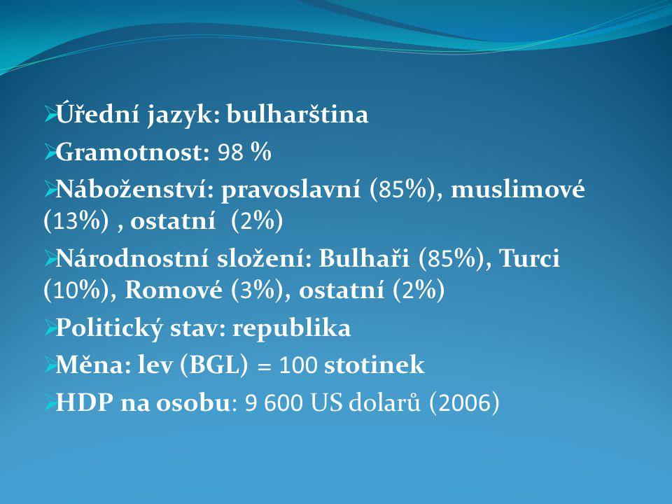 Úřední jazyk: bulharština