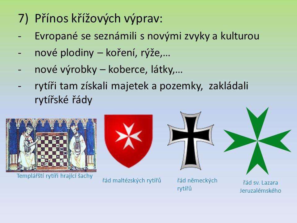 Přínos křížových výprav: