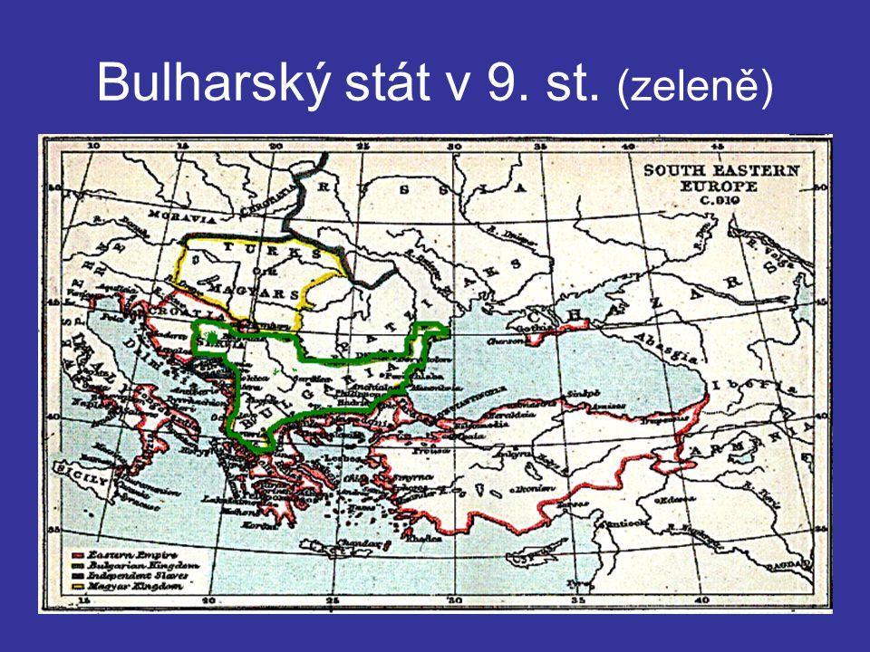 Bulharský stát v 9. st. (zeleně)