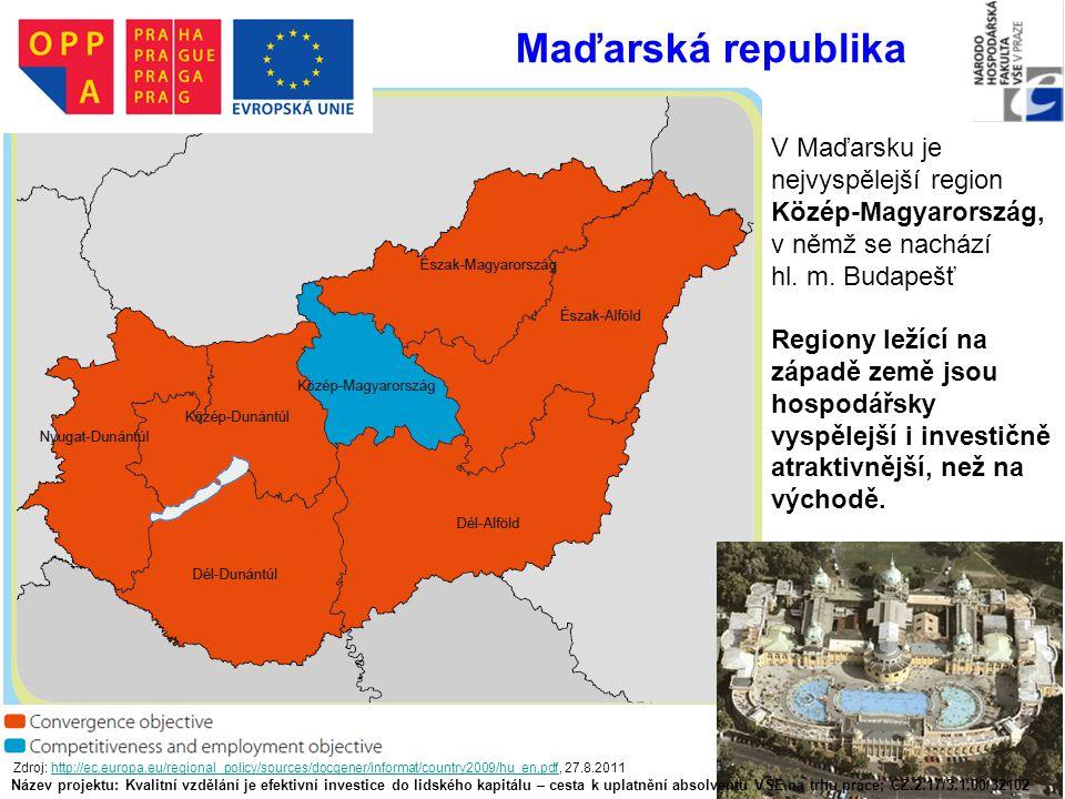 Maďarská republika V Maďarsku je nejvyspělejší region Közép-Magyarország, v němž se nachází. hl. m. Budapešť.