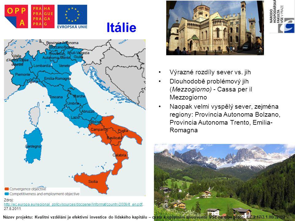 Itálie Výrazné rozdíly sever vs. jih