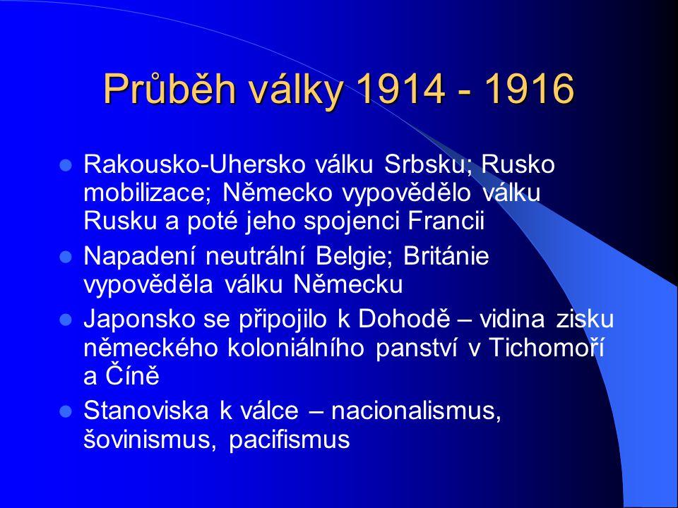 Průběh války 1914 - 1916 Rakousko-Uhersko válku Srbsku; Rusko mobilizace; Německo vypovědělo válku Rusku a poté jeho spojenci Francii.