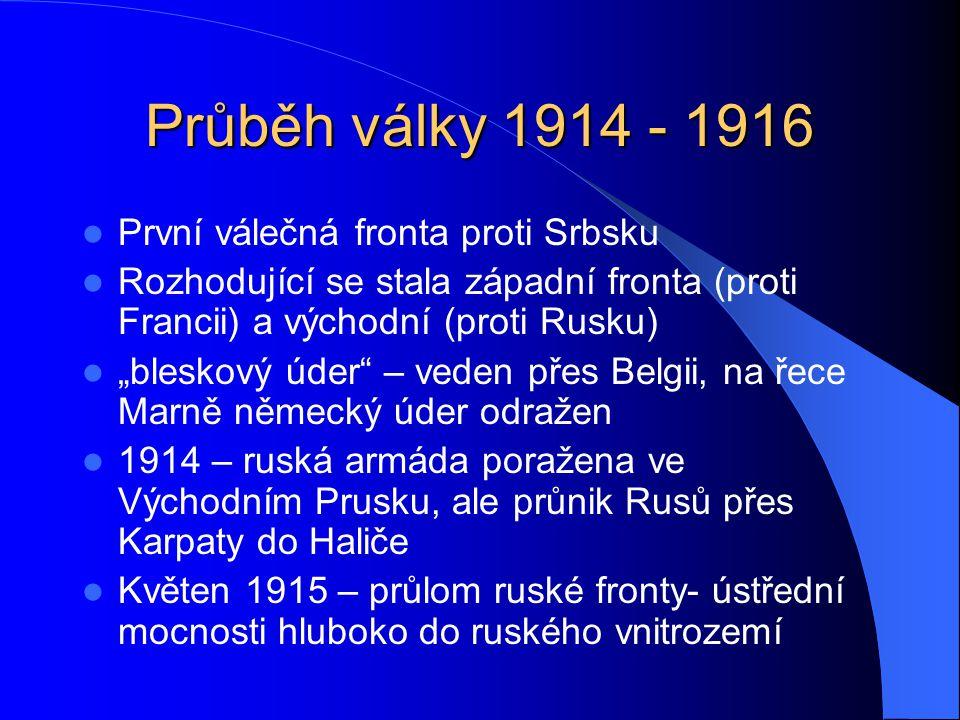Průběh války 1914 - 1916 První válečná fronta proti Srbsku