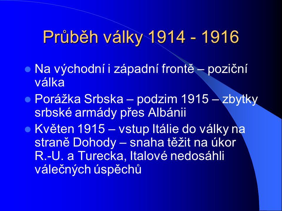 Průběh války 1914 - 1916 Na východní i západní frontě – poziční válka