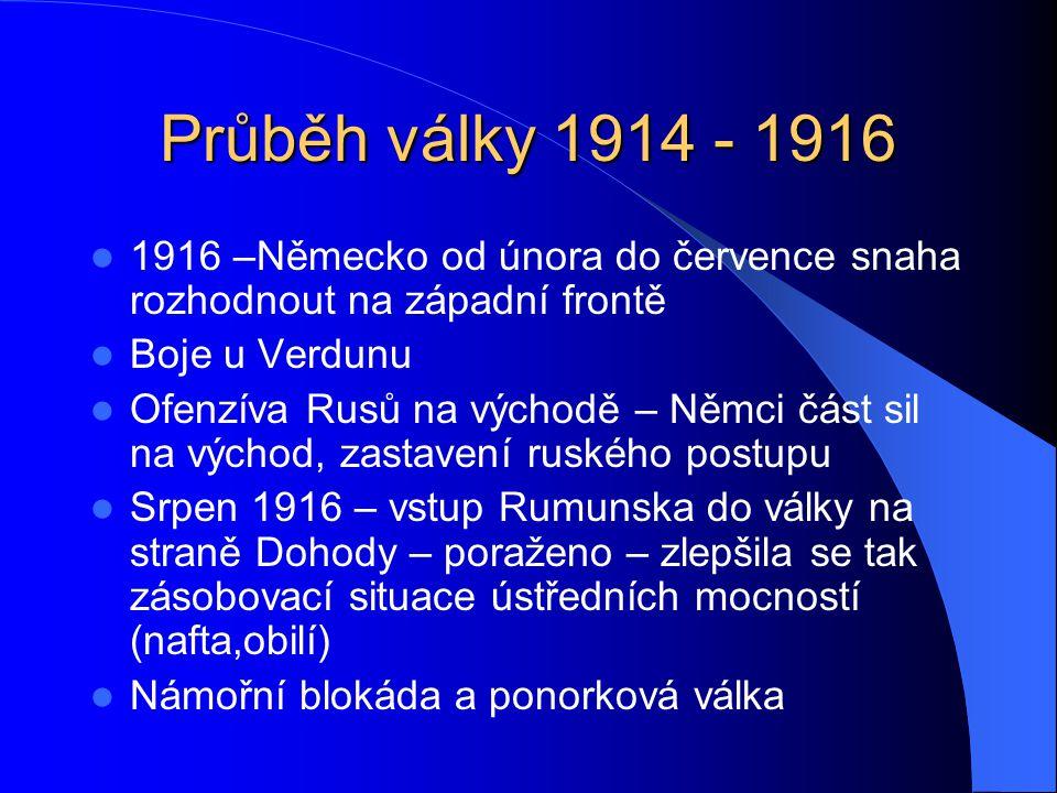 Průběh války 1914 - 1916 1916 –Německo od února do července snaha rozhodnout na západní frontě. Boje u Verdunu.