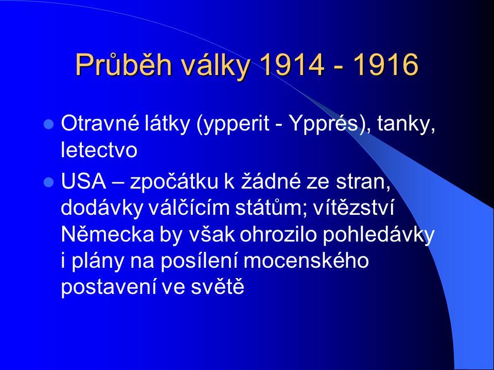 Průběh války 1914 - 1916 Otravné látky (ypperit - Ypprés), tanky, letectvo.