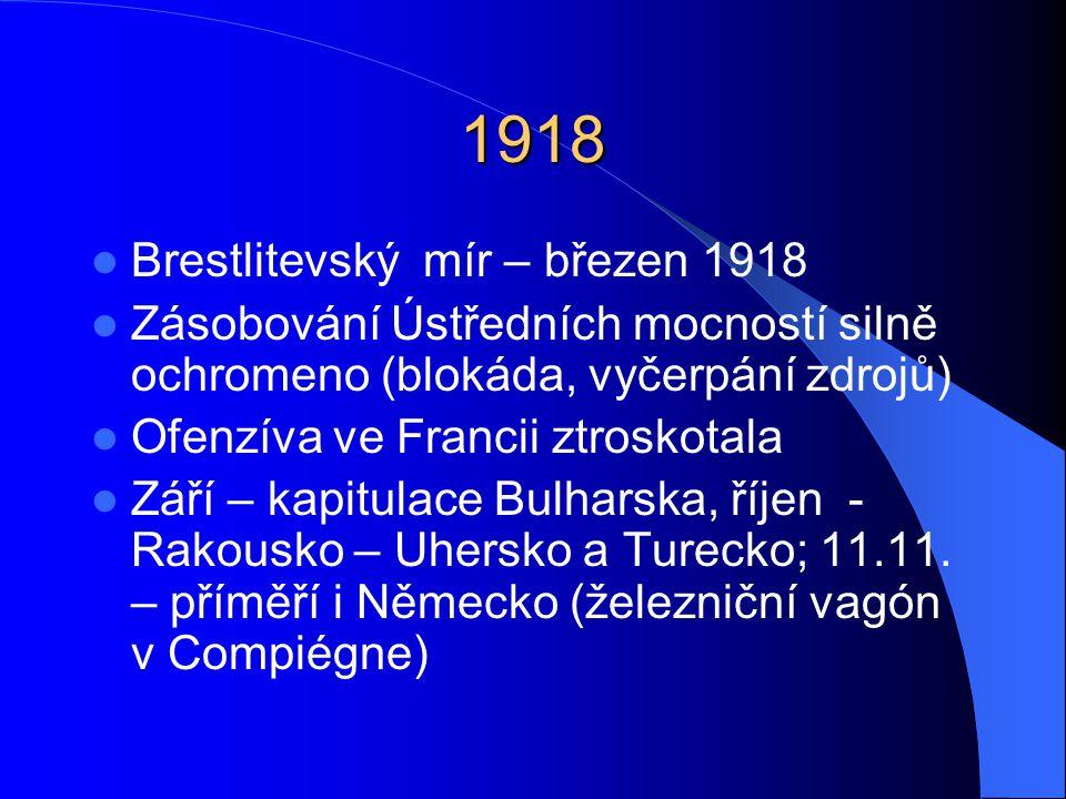 1918 Brestlitevský mír – březen 1918