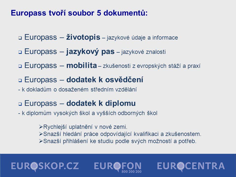 Europass tvoří soubor 5 dokumentů: