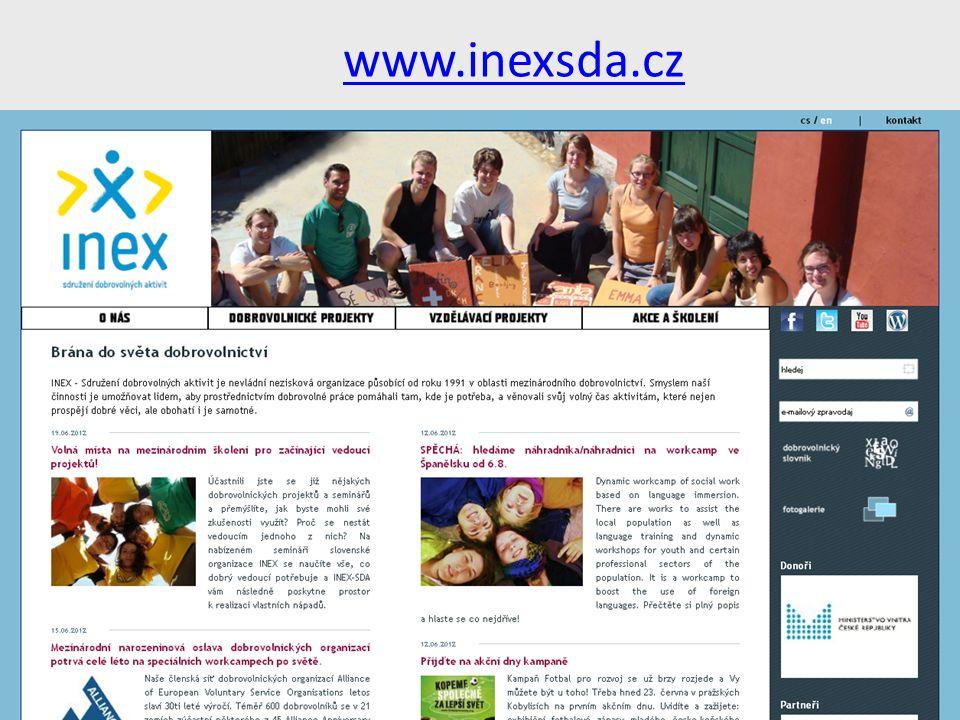 www.inexsda.cz INEX - Sdružení dobrovolných aktivit je nevládní nezisková organizace působící od roku 1991 v oblasti mezinárodního dobrovolnictví.