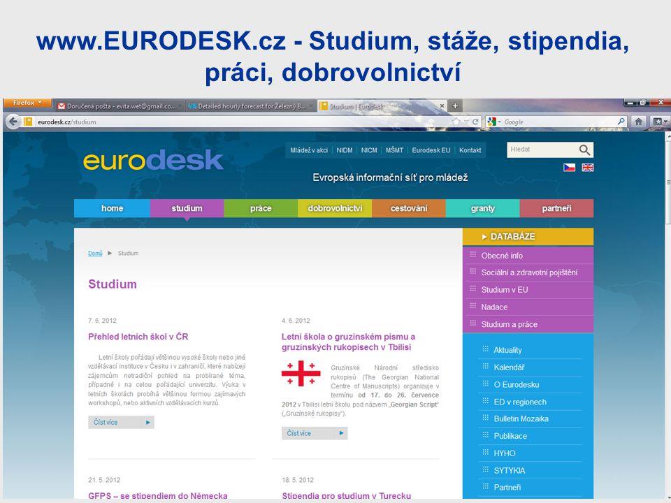 www.EURODESK.cz - Studium, stáže, stipendia, práci, dobrovolnictví