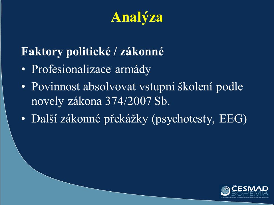 Analýza Faktory politické / zákonné Profesionalizace armády