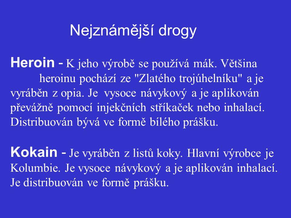 Nejznámější drogy Heroin - K jeho výrobě se používá mák. Většina