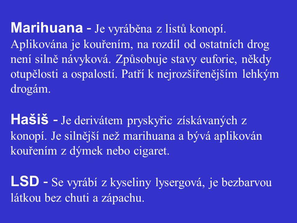 Marihuana - Je vyráběna z listů konopí