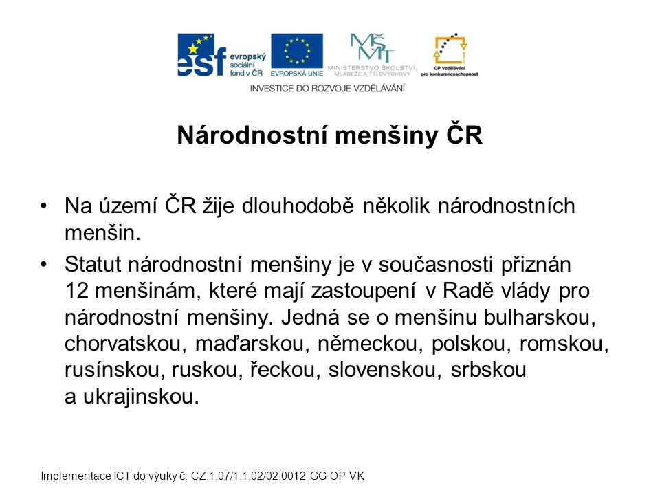 Národnostní menšiny ČR