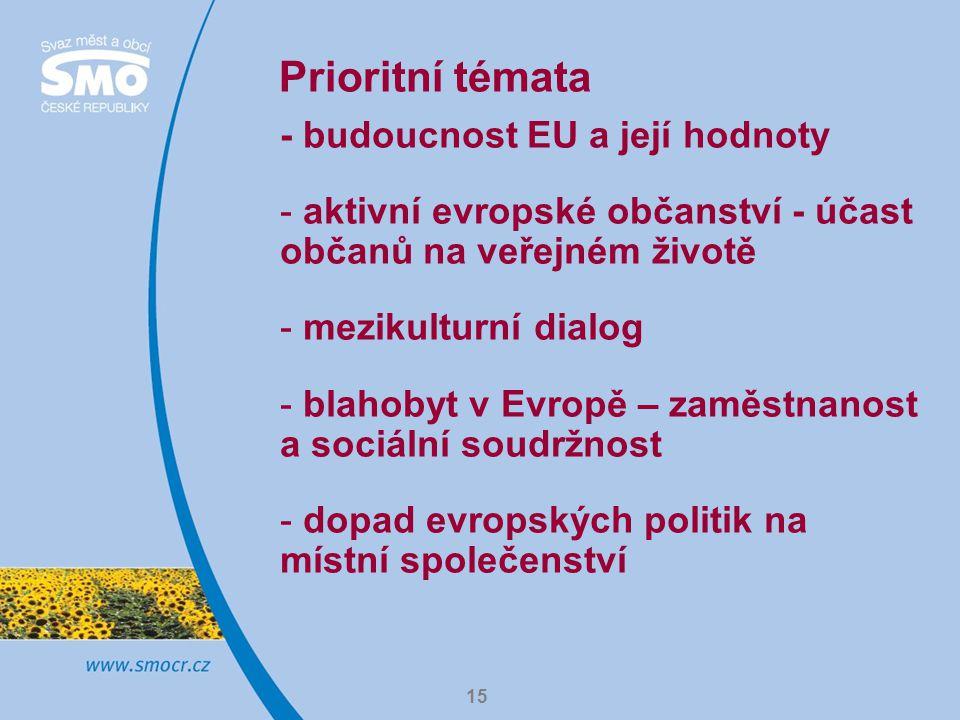 Prioritní témata - budoucnost EU a její hodnoty
