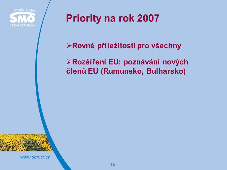 Priority na rok 2007 Rovné příležitosti pro všechny
