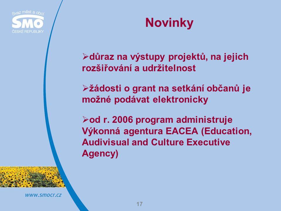 Novinky důraz na výstupy projektů, na jejich rozšiřování a udržitelnost. žádosti o grant na setkání občanů je možné podávat elektronicky.