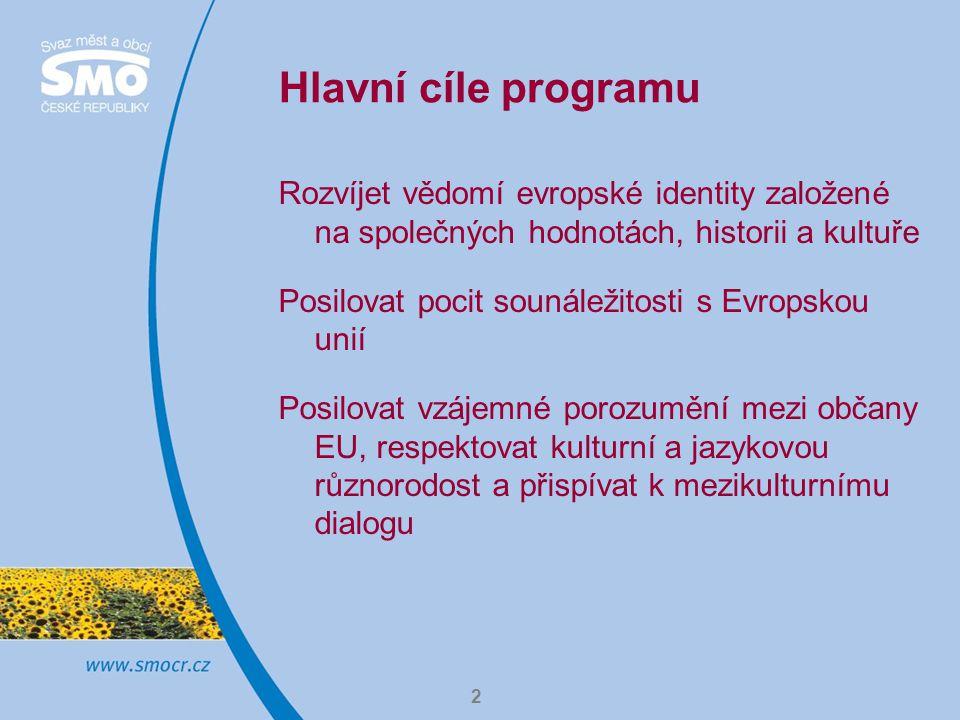 Hlavní cíle programu Rozvíjet vědomí evropské identity založené na společných hodnotách, historii a kultuře.