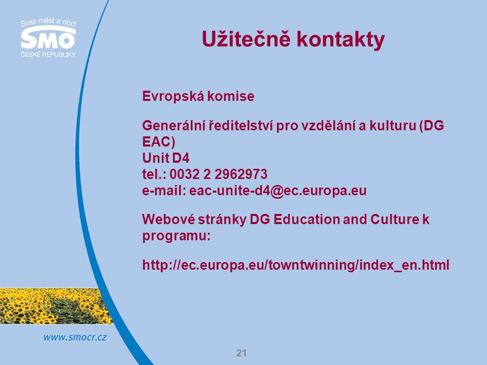 Užitečně kontakty Evropská komise
