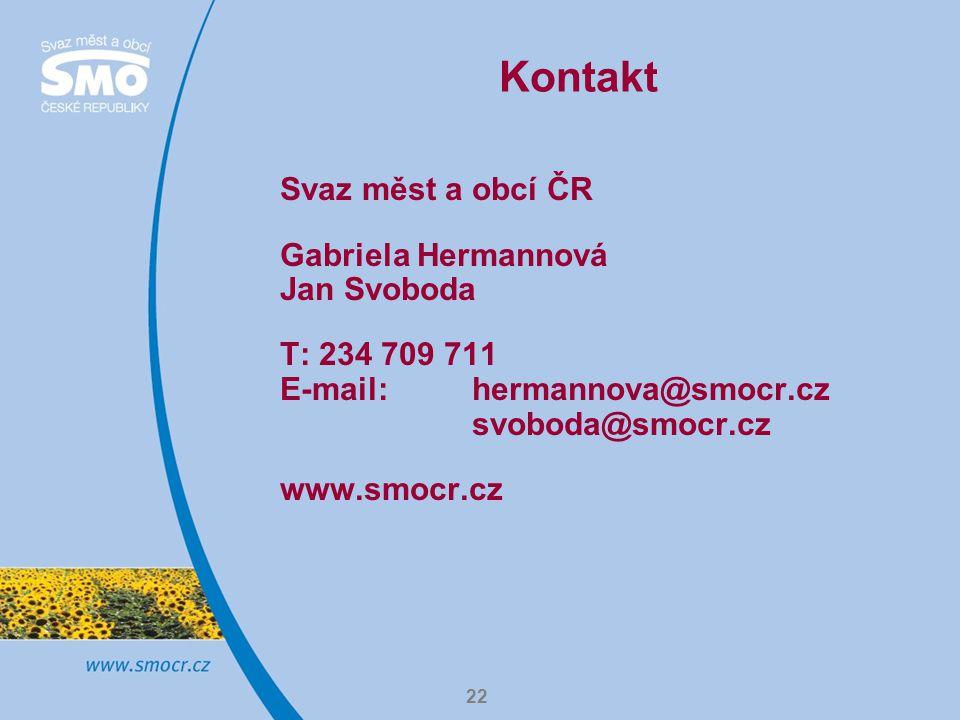 Kontakt Svaz měst a obcí ČR Gabriela Hermannová Jan Svoboda