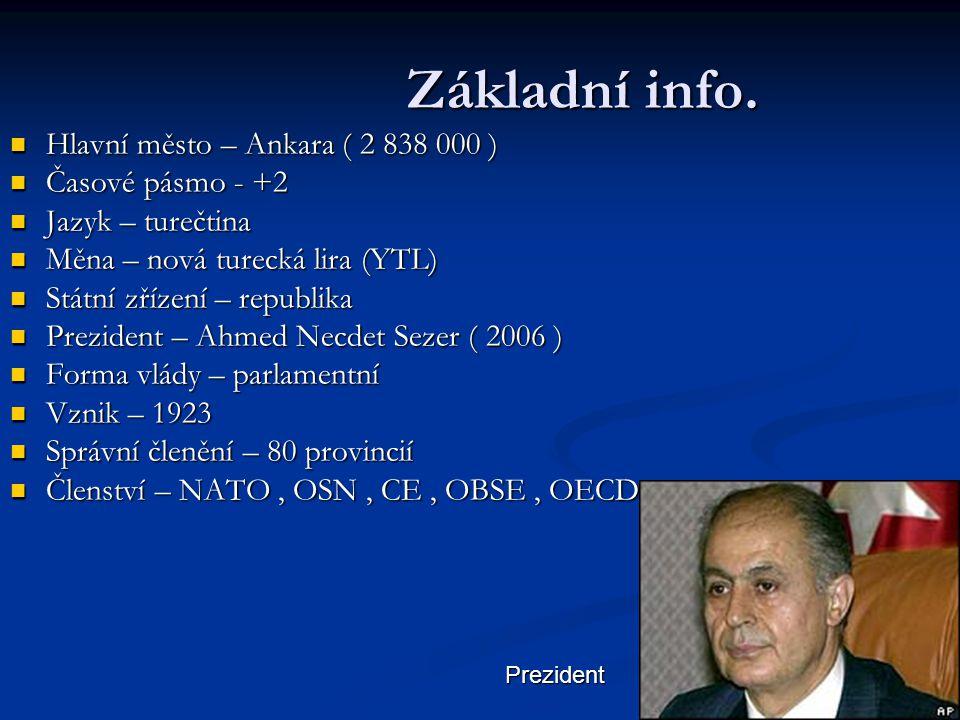 Základní info. Hlavní město – Ankara ( 2 838 000 ) Časové pásmo - +2