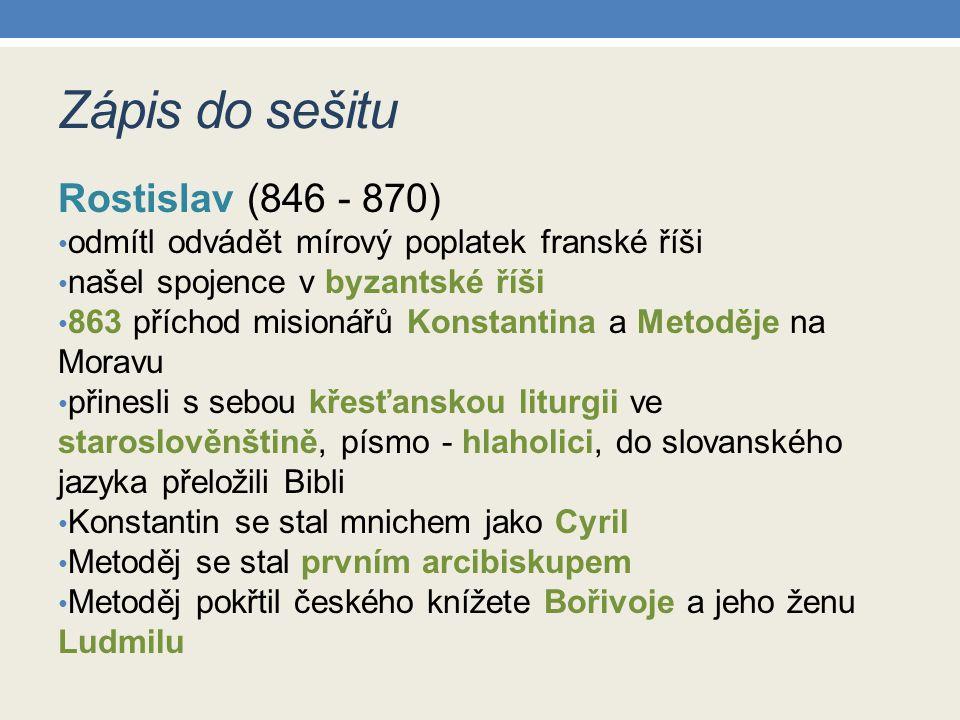 Zápis do sešitu Rostislav (846 - 870)