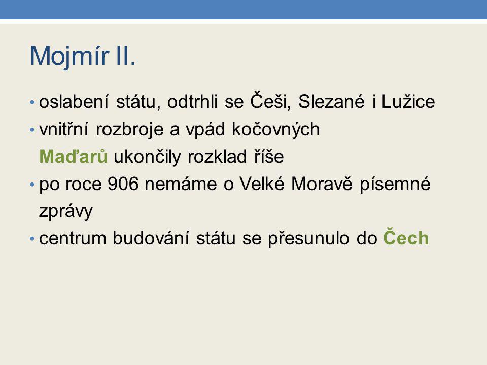 Mojmír II. oslabení státu, odtrhli se Češi, Slezané i Lužice