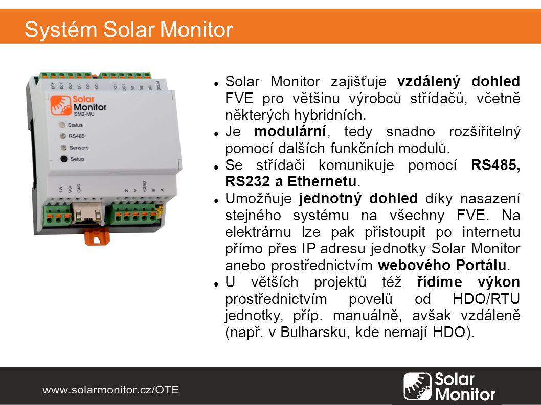 Systém Solar Monitor Solar Monitor zajišťuje vzdálený dohled FVE pro většinu výrobců střídačů, včetně některých hybridních.